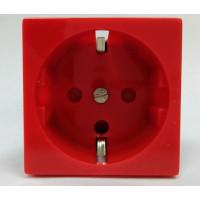 Розетка электрическая 2К+З  для выделения чистого питания с замком (красная)