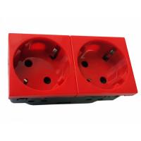 Розетка электрическая 2х2К+З со шторками, с безвинтовым зажимом, под углом 45гр (красный)