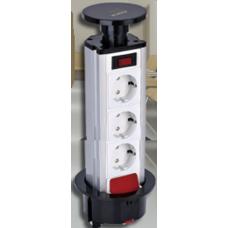 Блок розеточный настольный, 3х2К+З  (45х45) с выключателем нагрузки, выдвижной, пластик, IP20