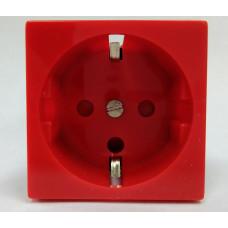 Розетка электрическая 2К+З, с защитными шторками(красный)