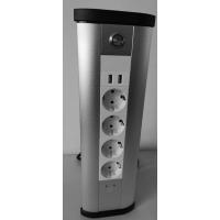 Блок розеточный управляемый (Wi-Fi), 4х2К+З, 2-USB (45х45), алюминий